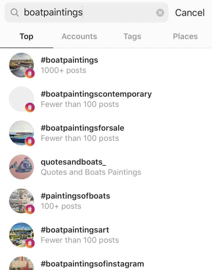 boatpaintings suggest- popular art hashtags on Instagram