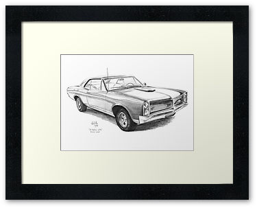 Example of my Pontiac Goat Digital Print in a sample frame