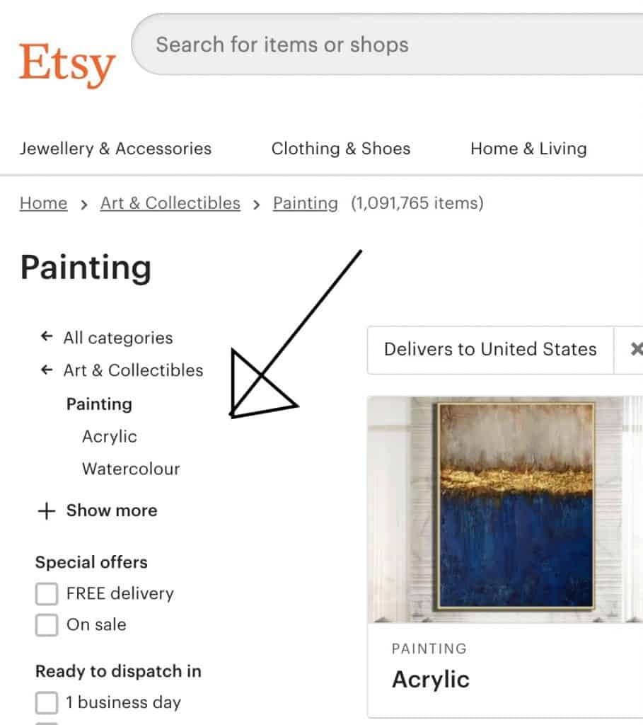 Etsy search side bar