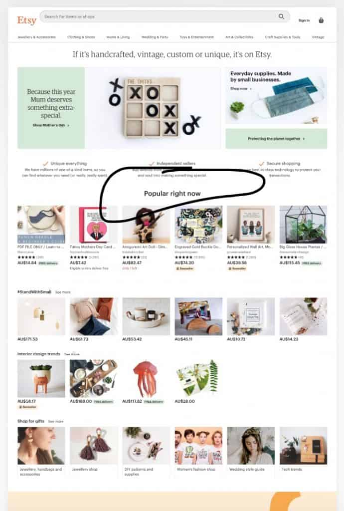 Etsy Landing Page Popular Right Now