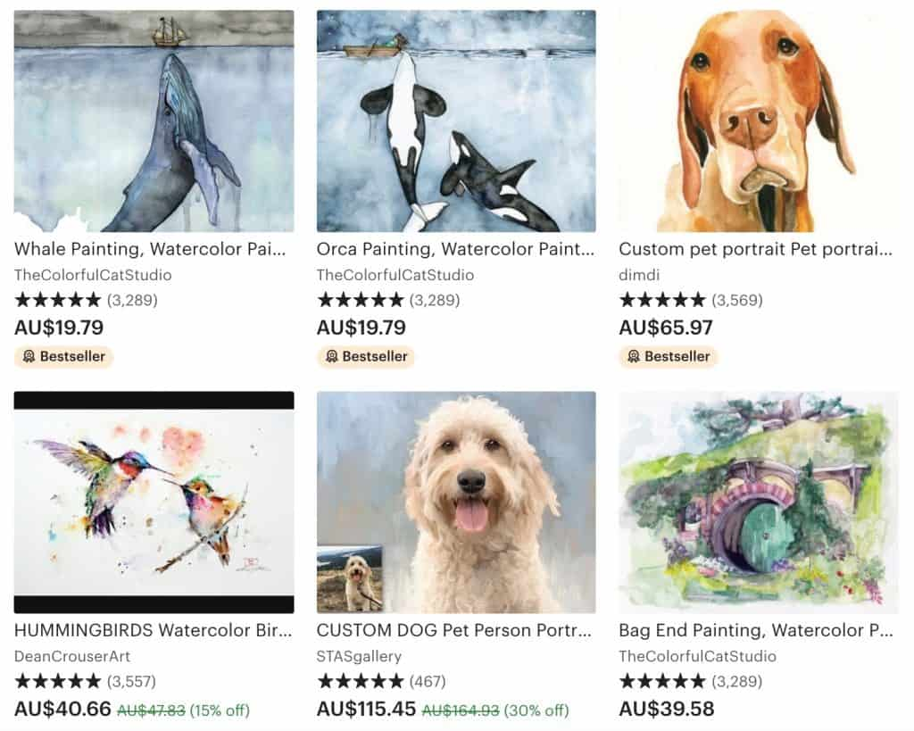 What type of paintings sell best on Etsy