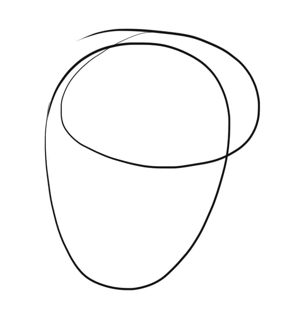 Draw a basic head by drawing two ovals like this