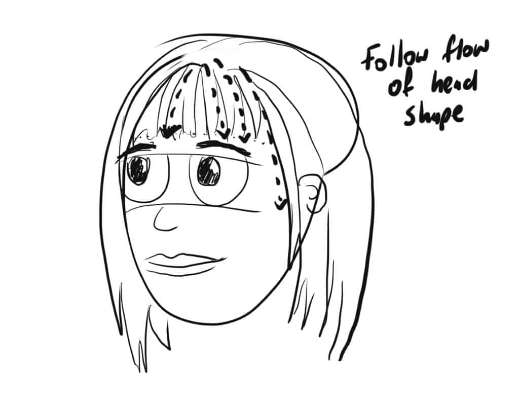 Follow the flow of the shape of the head as you draw the straight bangs