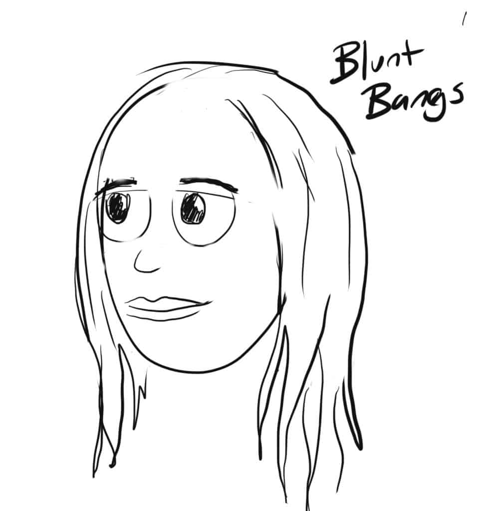 For blunt bangs, you draw longer side hair to start with and we will leave the front blank for now