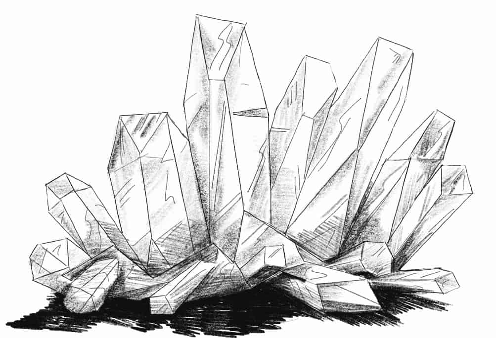 Shading the crystal cluster drawing