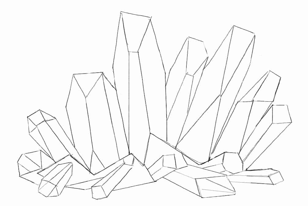 Completed basic crystal cluster drawing