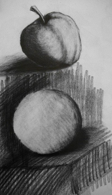 Still life drawing in charcoal